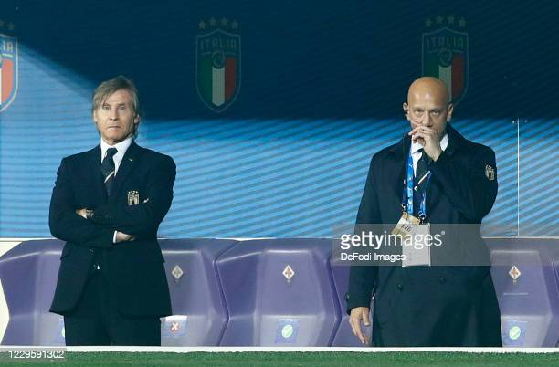 Gabriele Oriali of Italy and Gianluca Vialli of Italy look on during the International Friendly match between Italy and Estonia at Stadio Artemio...