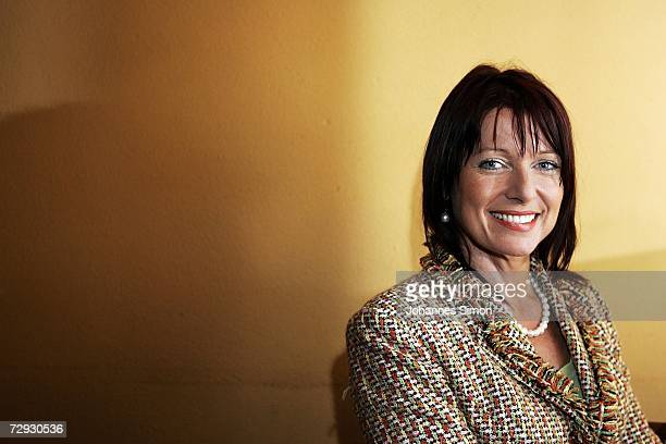 Gabriele Pauli district administrator of the Bavarian administrative district Fuerth and member of the Christian Social Union poses in a restaurant...