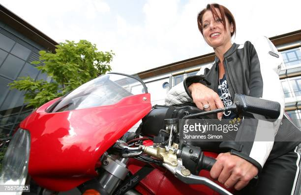 Gabriele Pauli district administrator of the Bavarian district Fuerth poses prior to a motorcycle tour on July 21 2007 in Zirndorf Germany Pauli...