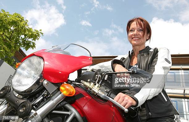 ZIRNDORF GERMANY JULY 21 Gabriele Pauli district administrator of the Bavarian district Fuerth poses prior to a motorcycle tour on July 21 2007 in...