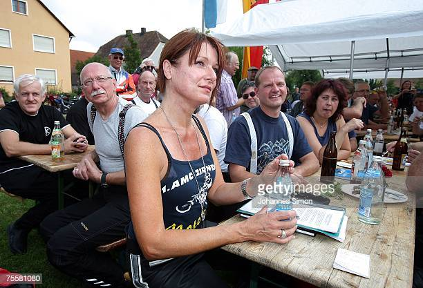 Gabriele Pauli district administrator of the Bavarian district Fuerth attends a village feast during a motorcycle tour on July 21 2007 in Ibern near...
