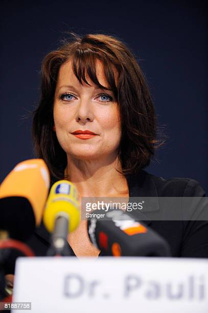 Gabriele Pauli election candidate of Bavarian party 'Freie Waehler' adresses the media during a press conference to announce the kickoff to the...