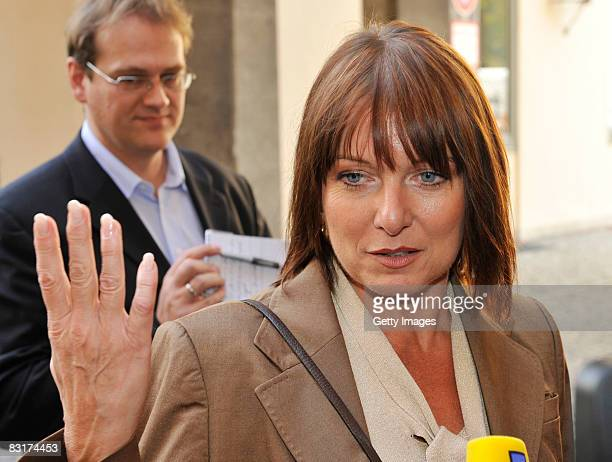 Gabriele Pauli member of the party Freie Waehler speaks to the media beside a meeting of the CSU fraction at the Bavarian Parliament on October 8...