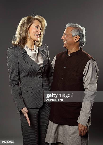 Gabriele Princess Inaara The Begum Aga Khan and economist Muhammad Yunus of Grameen Bank pose during a portrait session at the Digital Life Design...