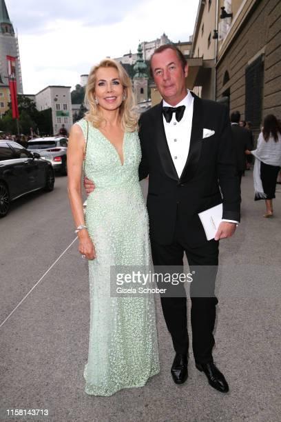 Gabriele Prinzessin zu Leiningen and her partner Juergen Kellerhals at the premiere of Idomeneo during the Salzburg Opera Festival 2019 at Haus fuer...
