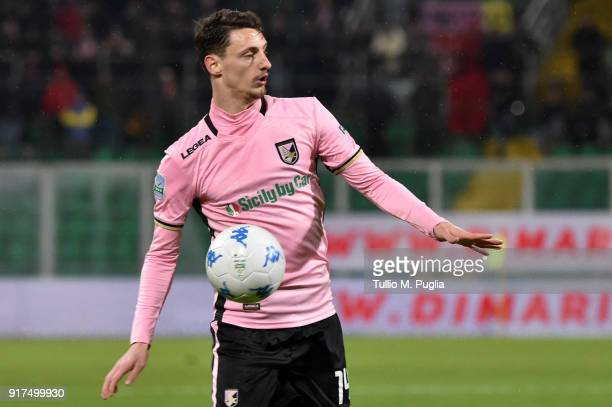 Gabriele Rolando of Palermo in action during the Serie B match between US Citta di Palermo and Foggia at Stadio Renzo Barbera on February 12 2018 in...