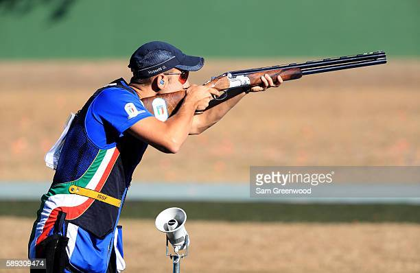 Gabriele Rossetti of Italy competes in the skeet finals match on Day 8 of the Rio 2016 Olympic Games at the Olympic Shooting Centre on August 13,...