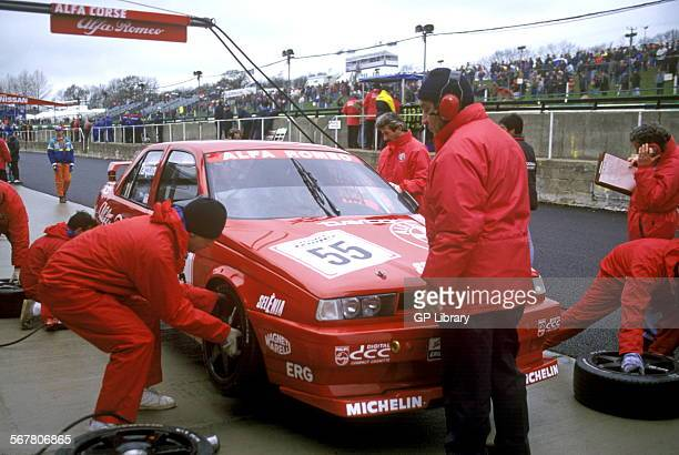 Gabriele Tarquini in an Alfa Romeo 155T in the pits Brands Hatch England 1994