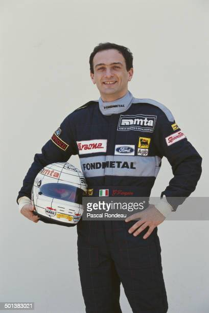 Gabriele Tarquini of Italy and driver of the Fondmetal F1 SpA Fondmetal GR01 Ford HB V8 poses for a portrait during practice for the Yellow Pages...