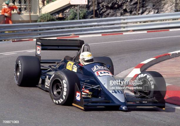 Gabriele Tarquini of Italy in action, driving an AGS JH23B with a Cosworth DFR 3.5L V8 engine for Automobiles Gonfaronnaises Sportives, during the...