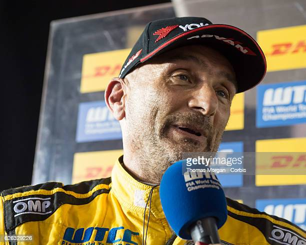 Gabriele Tarquini who drives Lada for LADA Sport Rosneft is interviewed after winning race 1 of the final round of the FIA World Touring Car...