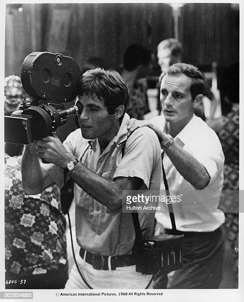Gabriele Tinti and Philippe Leroy on a movie set in a scene from the movie 'The Wild Eye' circa 1967