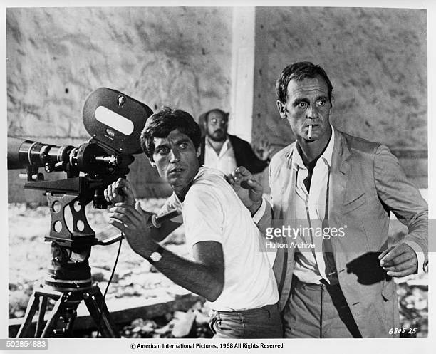 Gabriele Tinti and Philippe Leroy on a set in a scene from the movie 'The Wild Eye' circa 1967