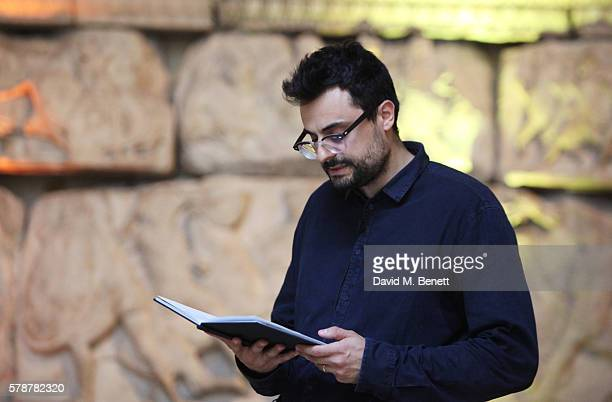Gabriele Tinti reads from his poem 'Poets Warriors' at The British Museum on July 22 2016 in London England