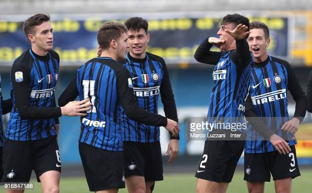 Gabriele Zappa of FC Internazionale celebrates his goal with his teammates during the Primavera Serie A match between FC Internazionale U19 and...