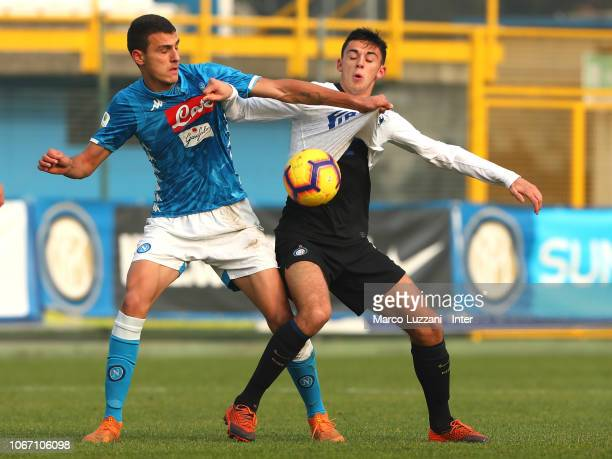 Gabriele Zappa of FC Internazionale competes for the ball during the Serie A Primavera match between FC Internazionale U19 and SSC Napoli U19 at...