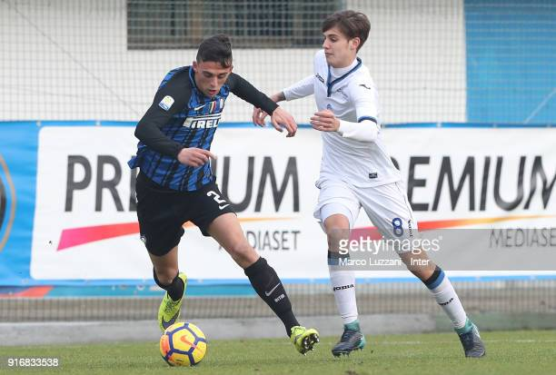 Gabriele Zappa of FC Internazionale competes for the ball during the Primavera Serie A match between FC Internazionale U19 and Atalanta U19 at Stadio...