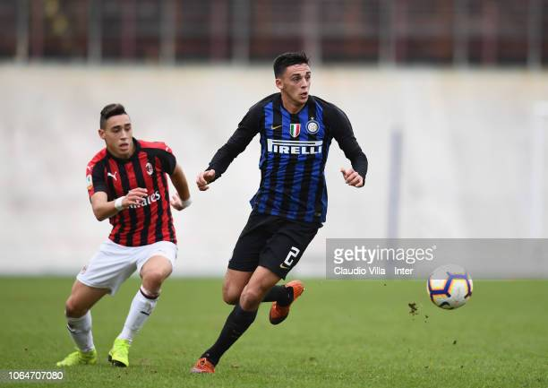 Gabriele Zappa of FC Internazionale in action during a match between AC Milan and FC Internazionale at Stadio Franco Ossola on November 24 2018 in...