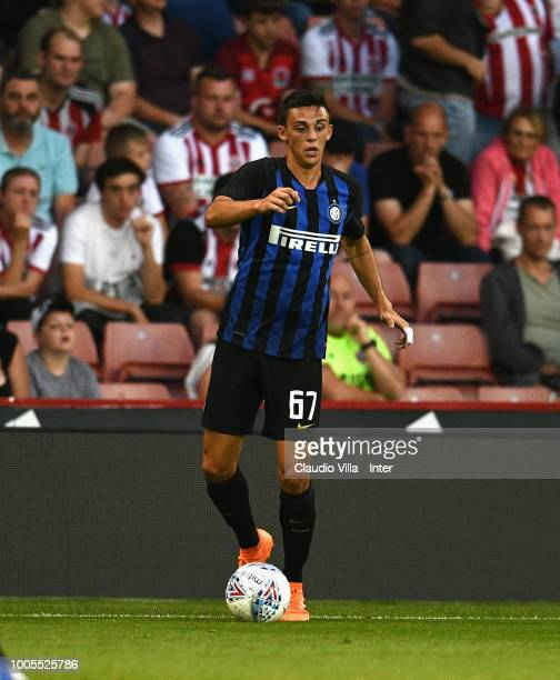 Gabriele Zappa of FC Internazionale in action during the preseason friendly match between Sheffield United and FC Internazionale at Bramall Lane on...