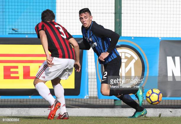Gabriele Zappa of FC Internazionale in action during the Primavera Serie A match between FC Internazionale U19 and AC Milan U19 at Stadio Breda on...