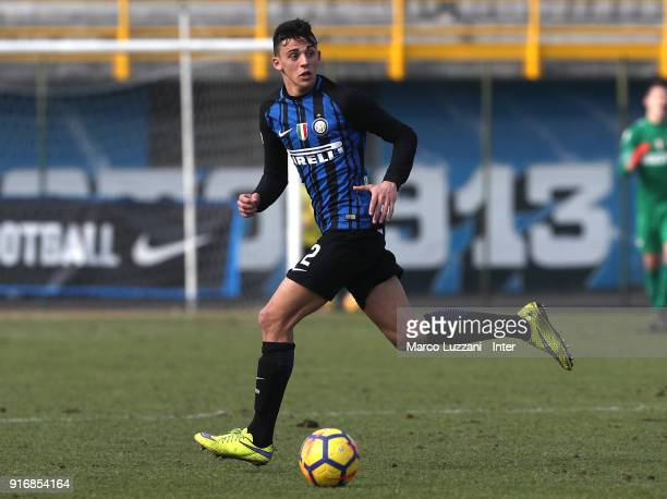 Gabriele Zappa of FC Internazionale in action during the Primavera Serie A match between FC Internazionale U19 and Atalanta U19 at Stadio Breda on...