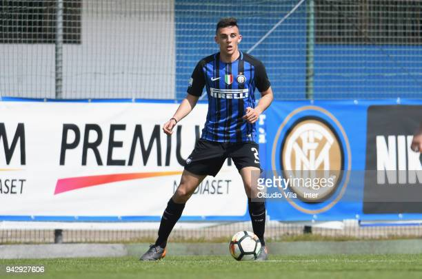 Gabriele Zappa of FC Internazionale in action during the Primavera Serie A match between FC Internazionale U19 and Genoa CFC U19 at Stadio Breda on...