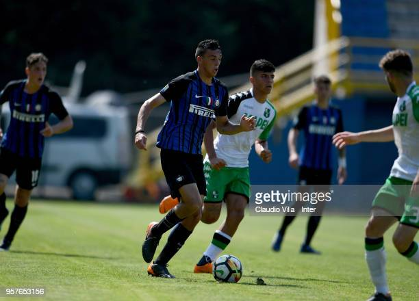 Gabriele Zappa of FC Internazionale in action during the Primavera Serie A match between FC Internazionale U19 and Sassuolo U19 at Stadio Breda on...