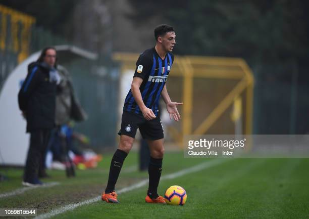 Gabriele Zappa of FC Internazionale in action during the Serie A Primavera match between FC Internazionale U19 and FC Empoli U19 at Stadio Breda on...