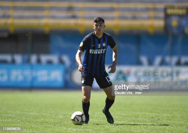 Gabriele Zappa of FC Internazionale in action during the Serie A Primavera match between FC Internazionale U19 and Genoa CFC U19 at Stadio Breda on...