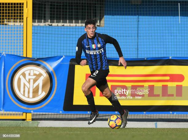 Gabriele Zappa of FC Internazionale in action during the Serie A Primavera match between FC Internazionale U19 and Bologna FC U19 at Stadio Breda on...