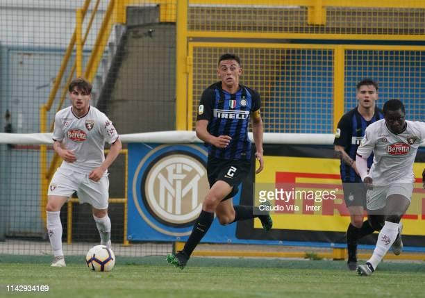 Gabriele Zappa of FC Internazionale in actrion during the Serie A Primavera match between FC Internazionale U19 and Torino FC U19 at Stadio Breda on...