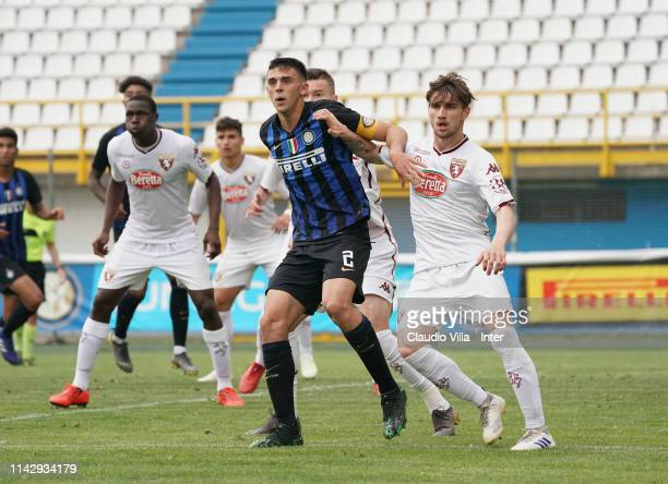 Gabriele Zappa of FC Internazionale in actrion during the Serie A Primavera match between FC Internazionale U19 and Torino FC U19 at Stadio Breda on...
