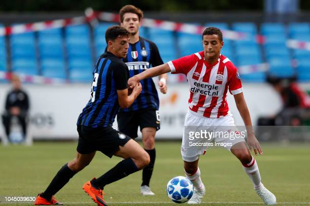 Gabriele Zappa of Internazionale U19 Mohammed Ihattaren of PSV U19 during the match between PSV U19 v Internazionale U19 at the De Herdgang on...