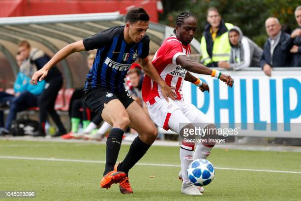 Gabriele Zappa of Internazionale U19 Sekou Sibide of PSV U19 during the match between PSV U19 v Internazionale U19 at the De Herdgang on October 3...