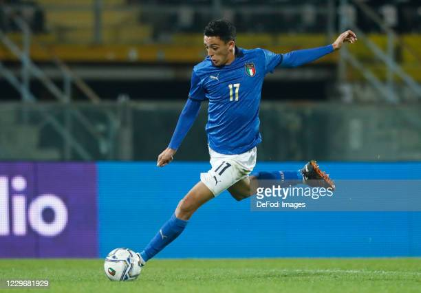 Gabriele Zappa of Italy controls the ball during the UEFA Euro Under 21 Qualifier match between Italy U21 and Sweden U21 at Arena Garibaldi on...
