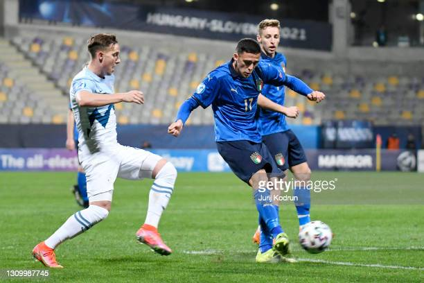 Gabriele Zappa of Italy shoots during the 2021 UEFA European Under-21 Championship Group B match between Italy and Slovenia at Stadion Celje on March...
