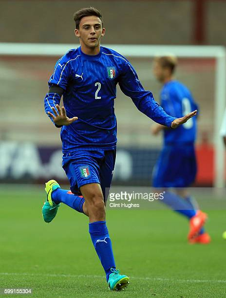 Gabriele Zappa of Italy U18 during the international friendly match between England U18 and Italy U18 at Highbury Stadium on September 1 2016 in...