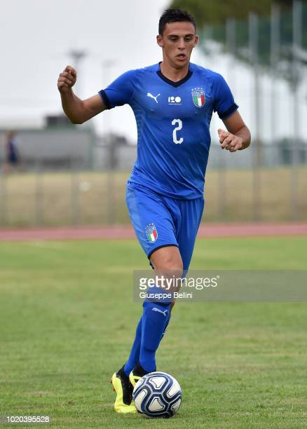 Gabriele Zappa of Italy U20 in action during the International Friendly match between Italy U20 and San Marino U20 on August 8 2018 in Misano...