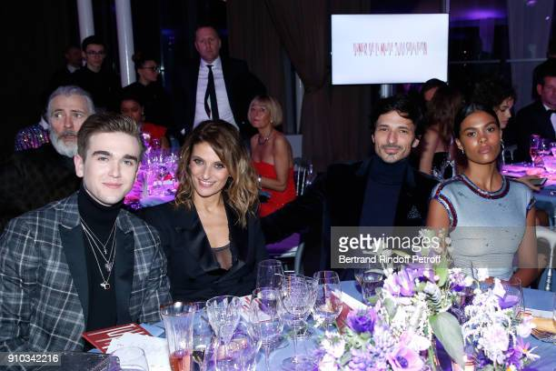 GabrielKane DayLewis guest Andres Velencoso and Tina Kunakey attend the 16th Sidaction as part of Paris Fashion Week on January 25 2018 in Paris...