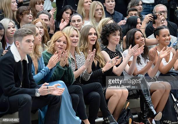 GabrielKane DayLewis Suki Waterhouse Sienna Miller Kate Moss Cara Delevingne Annie Clark and Naomie Harris attend the Burberry Womenswear...