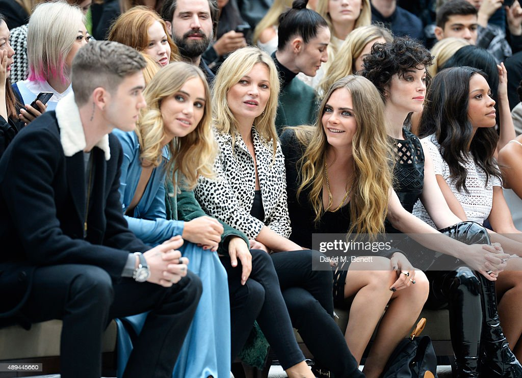 Gabriel-Kane Day-Lewis, Suki Waterhouse, Sienna Miller, Kate Moss, Cara Delevingne, Annie Clark and Naomie Harris attend the Burberry Womenswear Spring/Summer 2016 show during London Fashion Week at Kensington Gardens on September 21, 2015 in London, England.