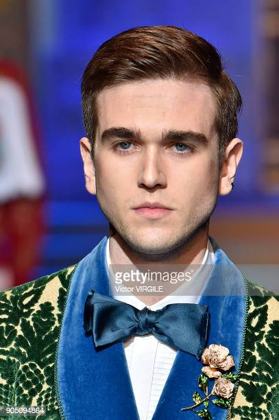 GabrielKane DayLewis walks the runway at the Dolce Gabbana show during Milan Men's Fashion Week Fall/Winter 2018/19 on January 13 2018 in Milan Italy