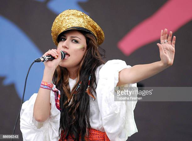 Gabriella Cilmi performs on the Pyramid stage during day two of the Glastonbury Festival at Worthy Farm on June 26 2009 in Glastonbury England