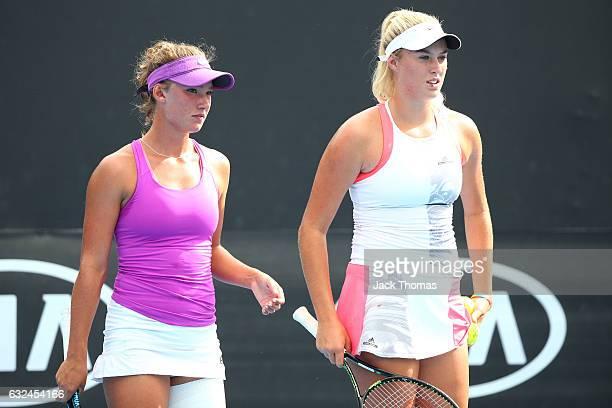 Gabriella Da Silva Fick and Kaitlin Staines of Australia compete against Olga Danilovic and Marta Kostyuk during the Australian Open 2017 Junior...