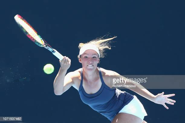 Gabriella Da SilvaFick plays a forehand in her match against Kimberly Birrell during the 2019 Australian Open Playoff match at Melbourne Park on...