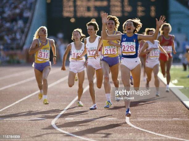 Gabriella Dorio of Italy crosses the line to win gold in the Women's 1500m metres event at the XXIII Summer Olympics on 11th August 1984 at the Los...
