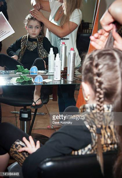 Gabriella Giudice get braids in her hair at the Kaleidoscope Hair Body Artistry open house on March 17 2012 in Basking Ridge New Jersey