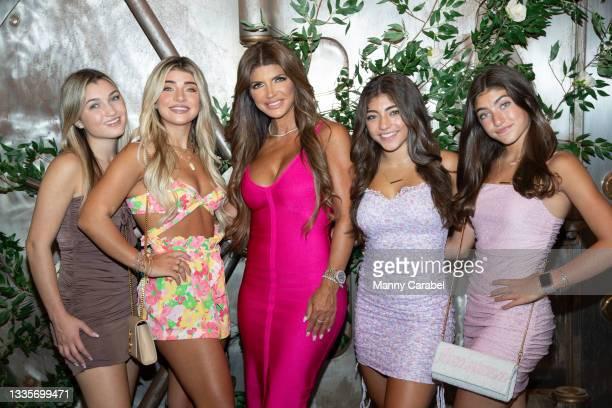 Gabriella Giudice, Gia Giudice, Teresa Giudice, Milania Giudice and Audriana Giudice attend Antonia Gorga's Sweet 16 Birthday Celebration on August...