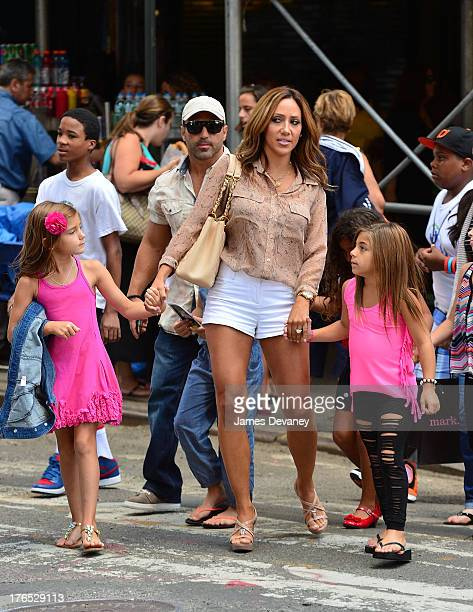 Gabriella Giudice Joe Gorga Melissa Gorga and Milania Giudice seen on the streets of Manhattan after attending ANNIE the Musical on August 14 2013 in...