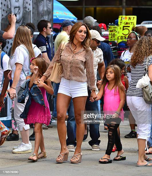 Gabriella Giudice Melissa Gorga and Milania Giudice seen on the streets of Manhattan after attending ANNIE the Musical on August 14 2013 in New York...